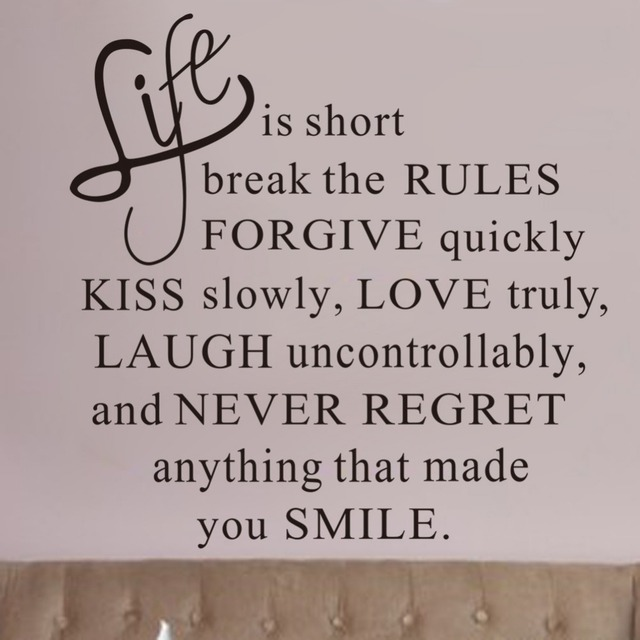 New Life Is Short Quote Inspirational Motto DIY Vinyl Wall Sticker Beauteous New Life Quote