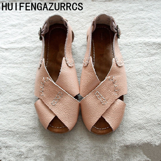 Careaymade 2019 Genuine Leather shoes pure handmade Comfortable casual sandals the retro art mori girl shoes