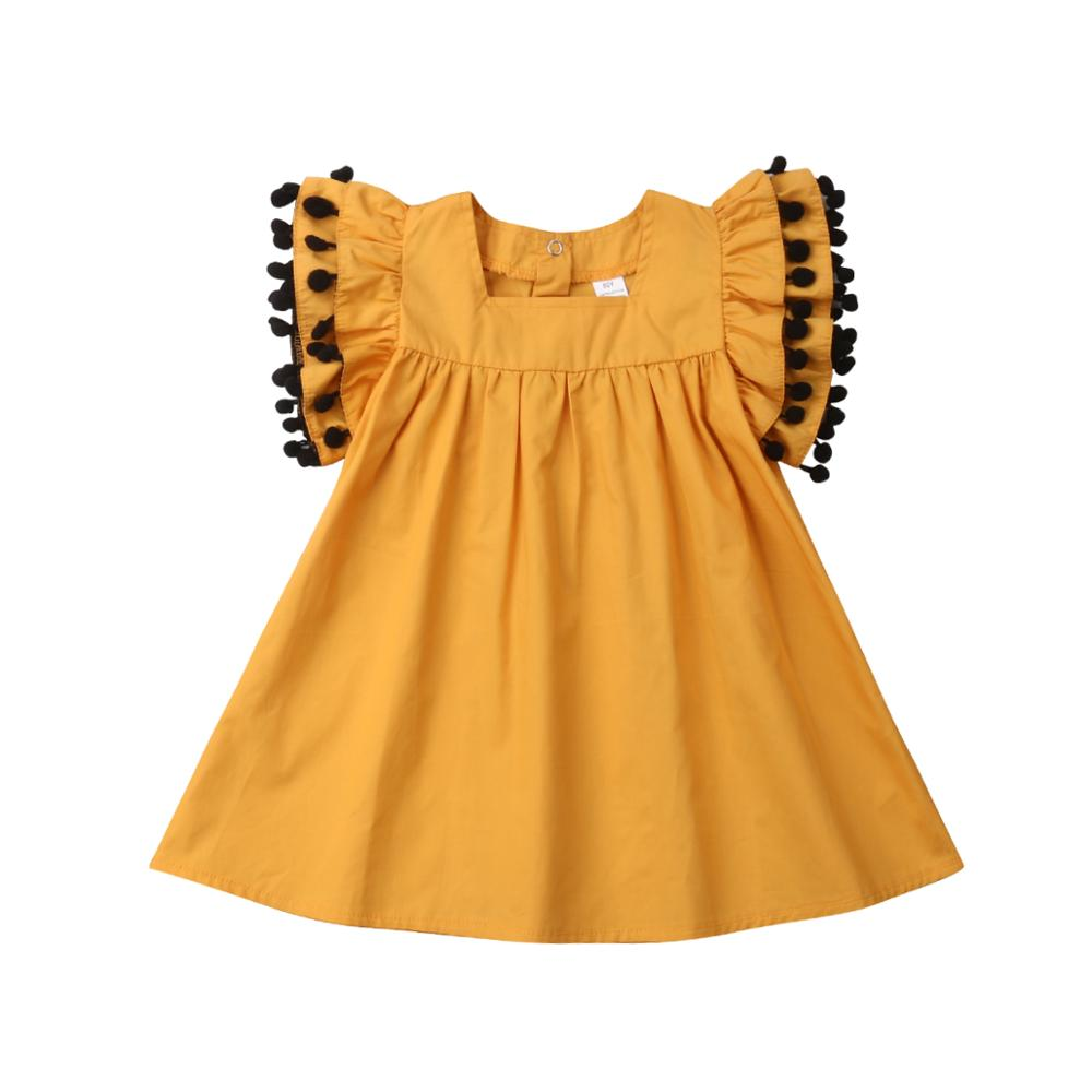 Tassel Kids Toddler Girls Summer Pageant Party Dresses Clothes Cotton Casual Short Sleeve Shirt Dress Clothes Sundress 1-6T