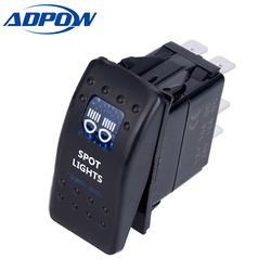 ADPOW Led Car Switch Boat Truck Light Toggle switch 5pin Waterproof Bar Style Blue Toggle Rocker Reverse Rear Light Switch 24V