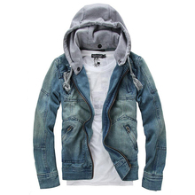 New Jean Coats Foreign Male Fashion Denim Tracksuit Detachable Hooded Men Denim Jacket Denim Jacket Jeans Size M-5XL недорого