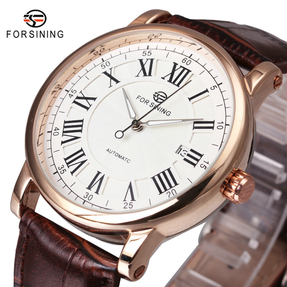 FORSINING Business Casual Men Auto Mechanical Wrist Watches Leather Strap Roman Number Calendar Dial Top Brand Luxury Watches megir fashion business wrist watches for men tourbillion design top brand luxury auto mechanical watches genuine leather strap