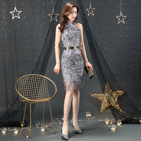 536624888d Sexy Silver Sequin Cocktail Dress 2019 Halter Spaghetti Strap Midi Silver  Cocktail Dress Bodycon Backless Sexy