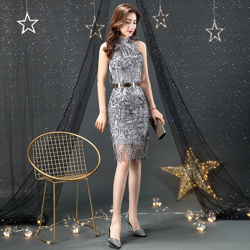 Sexy Silver Sequin   Cocktail     Dress   2019 Halter Spaghetti Strap Midi Silver   Cocktail     Dress   Bodycon Backless Sexy   Cocktail     Dresses