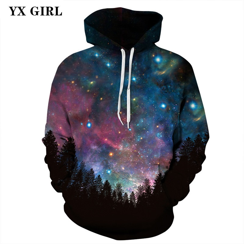 New Fashion Women Men Casual Hoodies Space Galaxy Hoodies Forest Night 3d Print Pullovers Sweatshirts Unisex Drop Shipping S-3XL