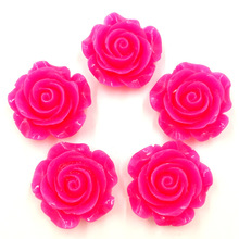 20Pcs Candy Color Fuchsia Resin Flower Shape Dome Seals Cameos Embellishments Crafts Making 28x27mm