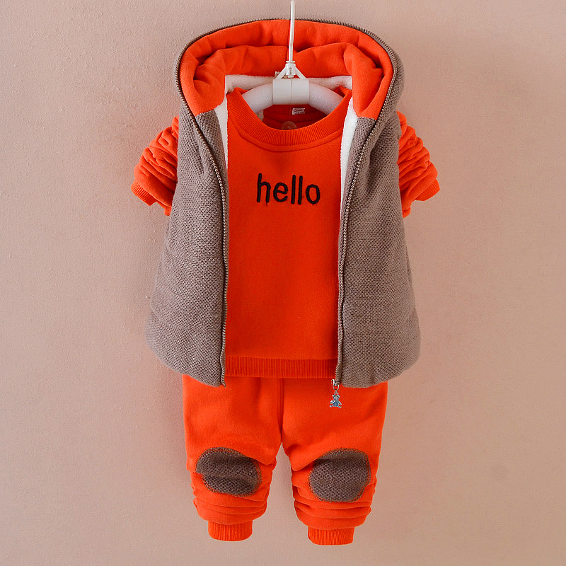 2017 Winter Boy Cashmere Sports Set 3 Pieces Baby Clothes Thick Warm Velvet Cotton 1-3 Years Old Baby Winter Jacket Coat TZ001 2pcs set baby clothes set boy