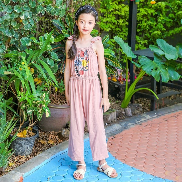 acb1171e8e71 floral pattern kid girls jumpsuit summer 2018 spring teenage pants  sleeveless pink blue overalls girls children baby clothing