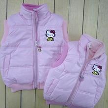 Детская зимняя верхняя одежда; пальто; жилет для девочек «hello kitty»; жилет с капюшоном; детская ветровка; хлопковые пальто; теплый жилет для малышей