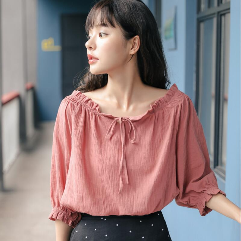 2019 Early Autumn New Dew Shoulder Slash Neck Lace-Up   Blouse     Shirts   Women Small Fresh Casual Blusas Woman Tops