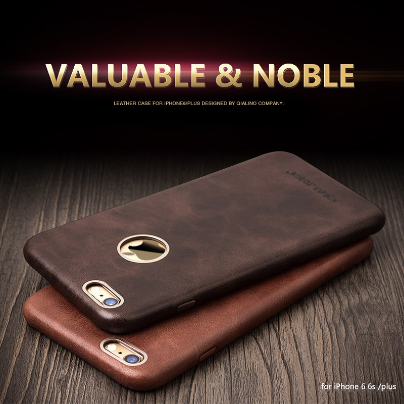 sale retailer e6264 8f69a US $28.0  QIALINO caseFor iphone 6 & 6s Calf Skin Leather case for iphone6  6s/plus Unique Design with Golden Frame cover for 4.7/ 5.5inch-in Fitted ...