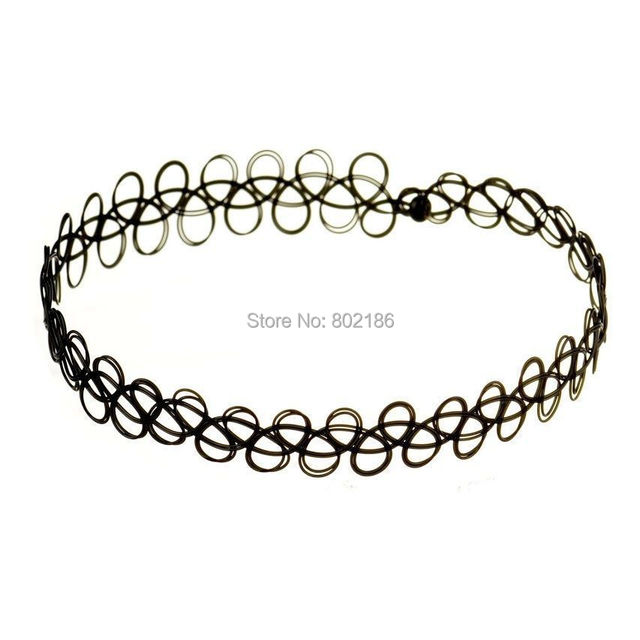 745e6209ac5d8 US $1.11 30% OFF|HOT Tattoo Choker Vintage Stretch Necklace Black Retro  Hippy Henna Boho Elastic 80s 90s-in Choker Necklaces from Jewelry & ...