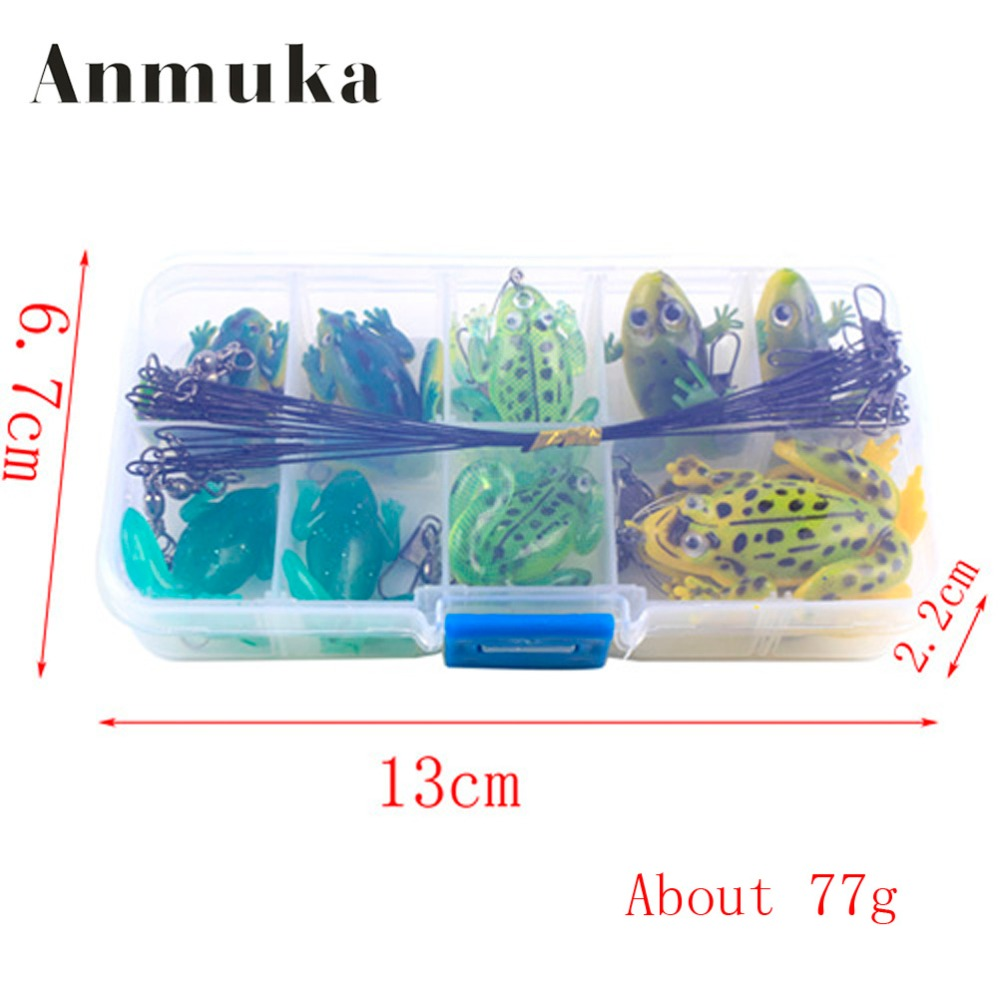Anmuka 30Pcs/Set Mix Frog Fishing Lure Single Hook Double Hook Frog Soft Artificial Bait Lures 1pc 5 5cm 13g frog lure fishing lures treble hooks top water ray frog artificial minnow crank strong artificial soft bait