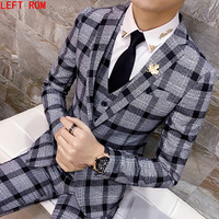 Wool Green Ckeck Tweed Custom Made Men suit Blazers Retro tailor made slim fit wedding suits for men 3 Piece