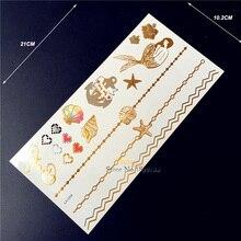 1PC Gold Tattoo Bracelet Men Women Fake Jewel Flash Metallic Tattoo Mermaid Shell Star Fish Pattern Temporary Tattoo Sticker