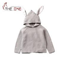 Baby Boys Girls 1-5T Autumn Winter Knitting Wool Bunny Ear Sweater Children Hooded Homewear Clothing Kids Gift For Boys Girls