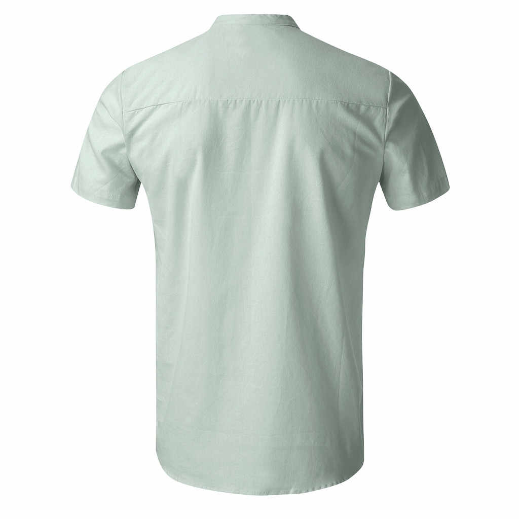 男性のリネン半袖固体呼吸クールアロハシャツヨーロッパサイズルーズシャツソフトトップス Tシャツ