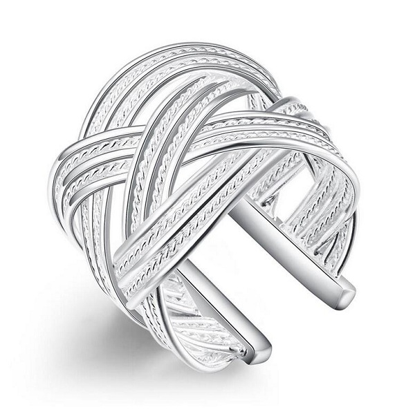 rings finger sliver color/plated popular Jewelry creative Fashion for women Girls lady big net cross adjustable