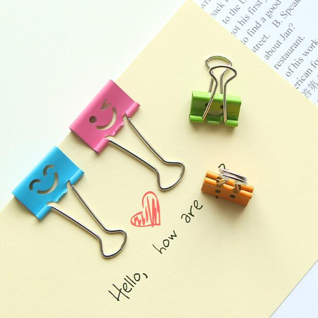 8 Pcs/lot Sweet Candy Color Smile Face Metal Binder Clips Notes Letter Paper Clip Office Supplies FOD