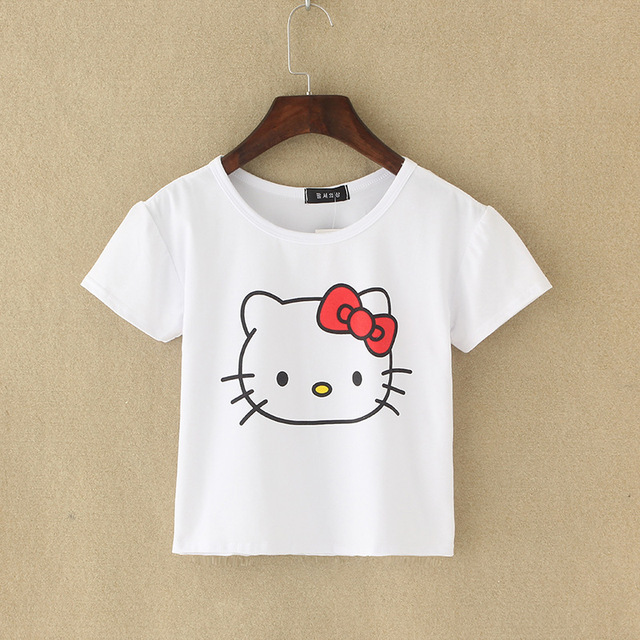 5f2ce62e5 22 Styles Women Summer Short Style Tee T-Shirts Lady Girls Short Sleeve  Hello Kitty Letter Cat Print Top Shirts Blusas DF0951