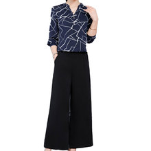 Korean Fashion Wide-Legged Pants Suit 2019 New Long-Sleeved Chiffon Print Blouse Top Two-Piece Clothing Set Outfit Women S-XXL