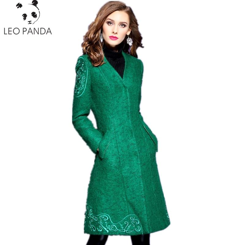 green Manteau Nouveau Grey Veste Lyl101 Style V Femme Soild cou Femmes Mode Tops Light Bouton Long Laine 2017 Vestes De Hiver Automne 8WZFqR1