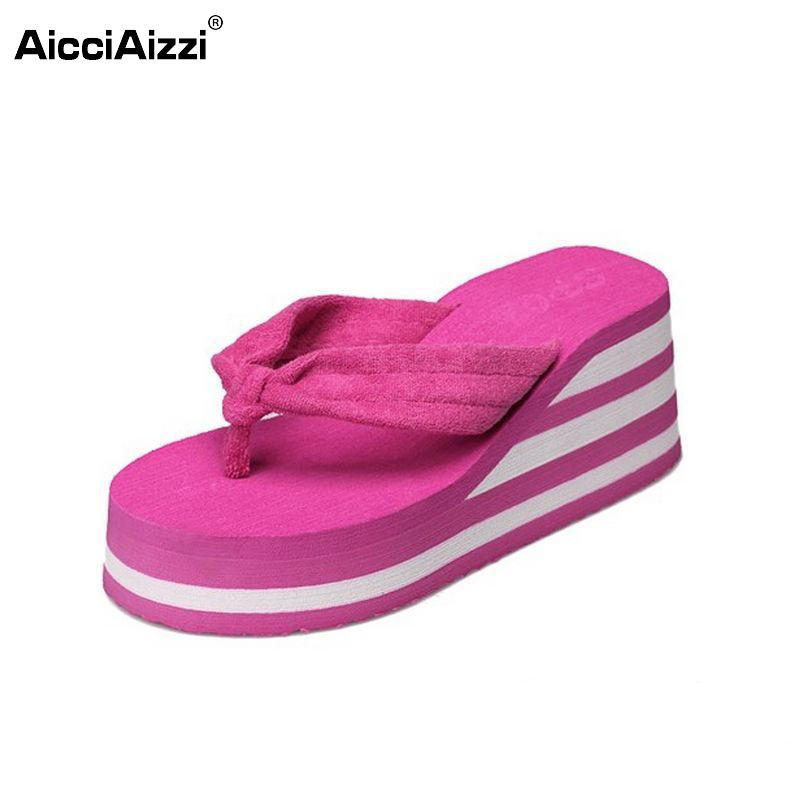new style mixed color women wedges high heels flip flops platform slippers fashion summer beach sandals shoes size 35-39 PA00165 retro embroidery women wedges sandals summer style platform shoes woman casual thick high heels creepers slippers plus size 9