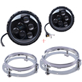 2 PCS 7 ''Polegadas Lente Do Farol de Halo Led DRL Head Lamp Para Jeep Wrangler JK TJ Off Road + 2 PCS 7 polegada de montagem do farol suportes