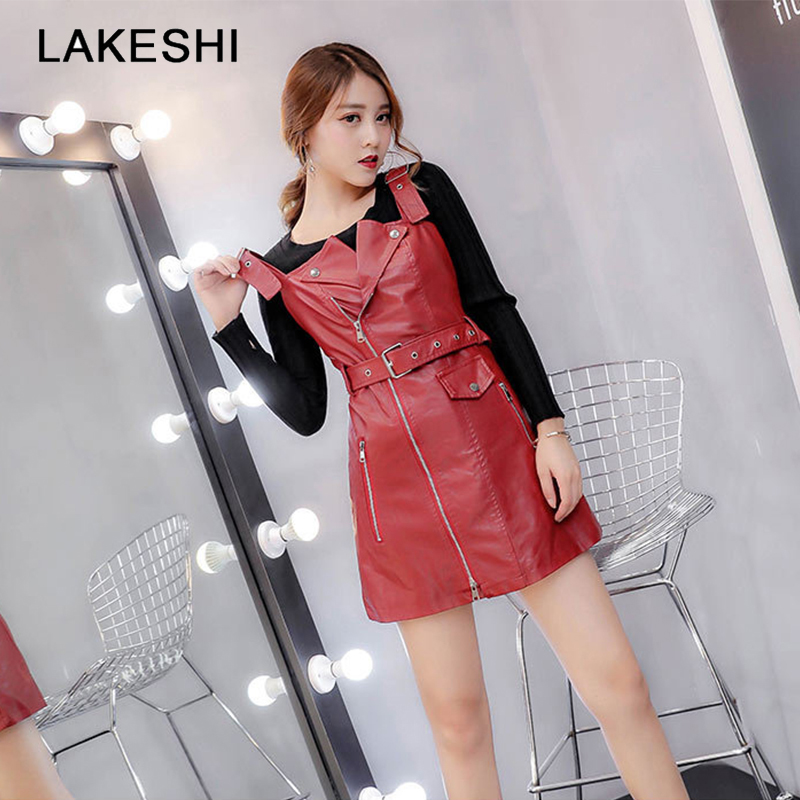 LAKESHI Fashion PU Leather Dress Women Zipper Sexy Slim Winter Dress Female Biker Mini Short Sundress Plus Size 4XL 5XL girl shoes in sri lanka