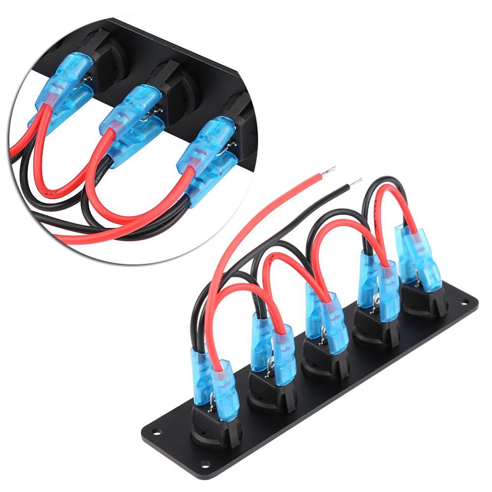 5 GANG 12V-24V ON//OFF Round Dash Rocker Toggle Switch Panel LED for Car Marine