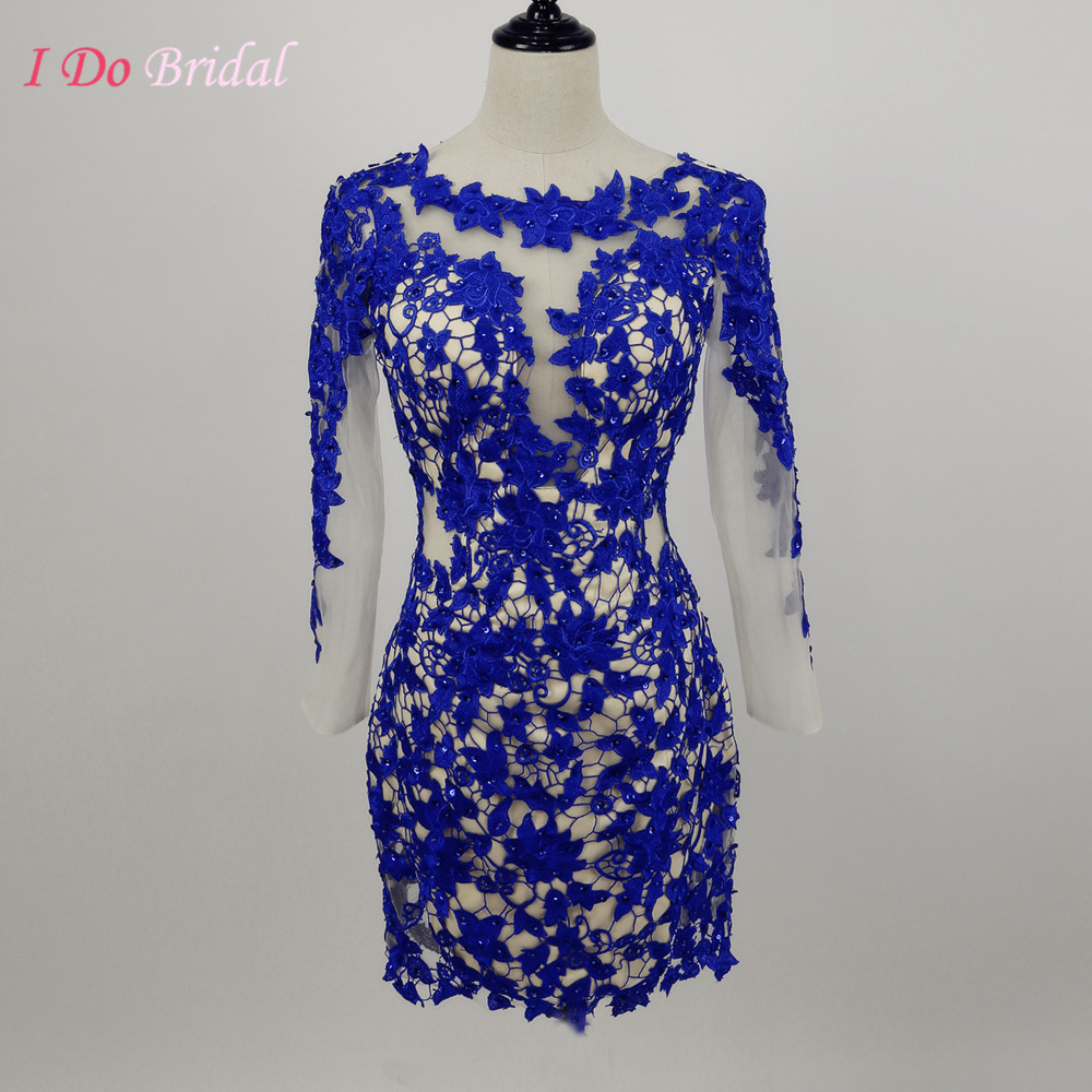 Royal Blue Lace Cocktail Dress Real Photo Short Mini Party Prom ...