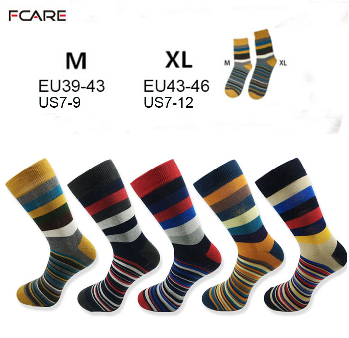 10PCS=5 pairs men stripe colorful fashion socks crew dress socks happy Funky Colorful Argyle Striped