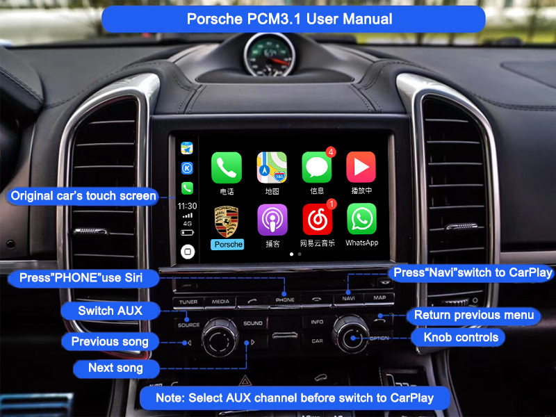 US $377 46 19% OFF|Aftermarket OEM PCM 3 1 Wireless Apple CarPlay Retrofit  for 2010 16 Porsche Panamera Cayenne Macan Cayman Boxster 911 Car play -in