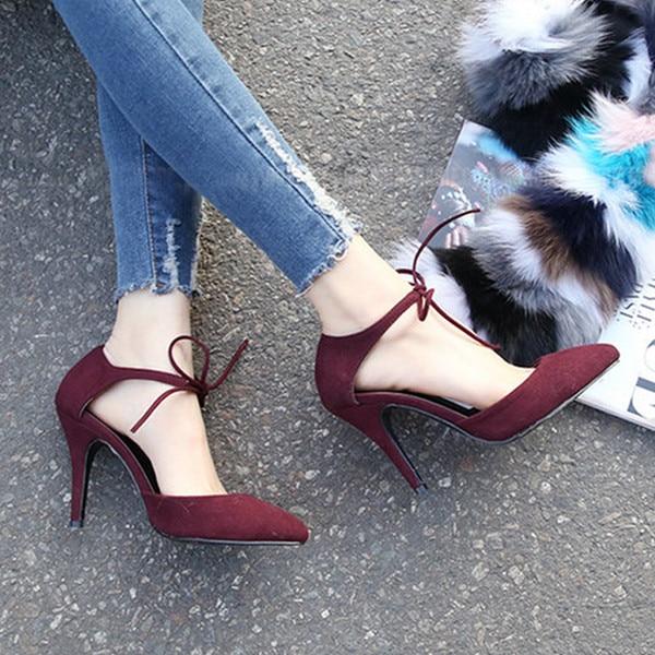 2017 Summer Newest Designer Black Suede Lace-Up Pumps Pointed Toe Ankle Strap Women Party Dress Shoes Woman Bride Pump Size34-40