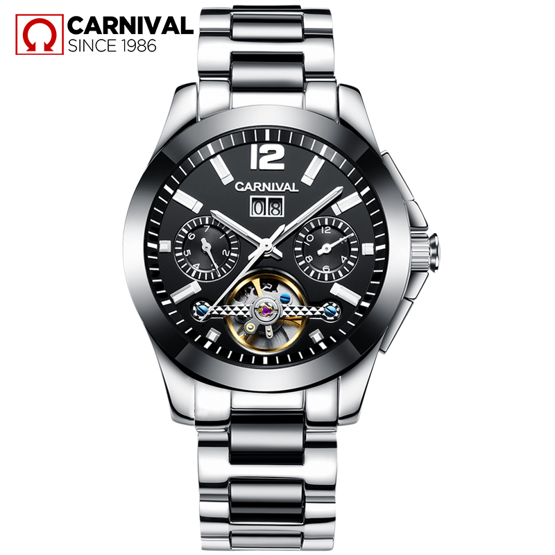 Luxury Watch Top Brand Carnival Automatic Mechanical Watches Men Watch Tourbillon Calendar Week 30M Waterproof Fashion Casual forsining men luxury mechanical watches men s sports tourbillon automatic watch rubber strap auto date week month calendar clock