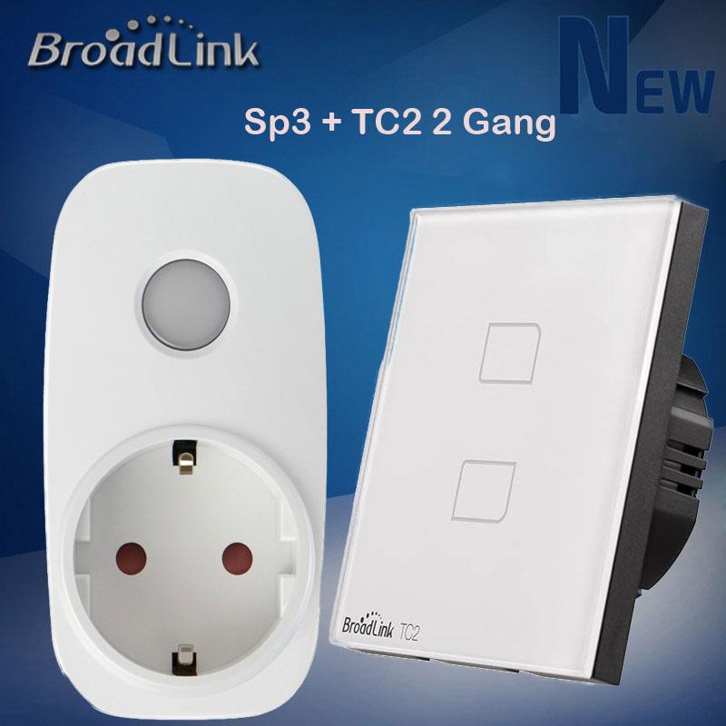 Interrupteur de lumière WiFi sans fil 2 gangs Broadlink TC2 + prise de courant Wifi intelligente Sp3, commutateur de télécommande de maison intelligente Via Ios Android