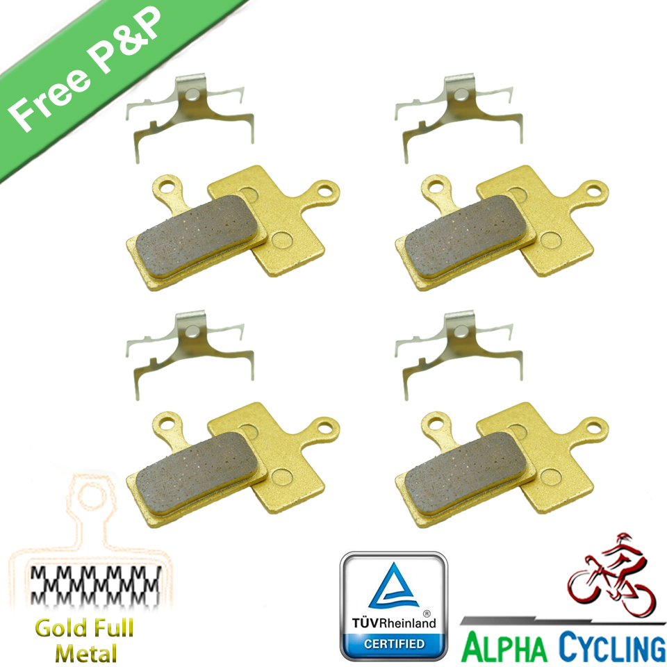 Bicycle Disc Brake Pads for Shimano XT M985, M988, Deore XT M785, SLX M666, M675, Deore M615, Alfine S700, 4 Pairs, Gold Metal