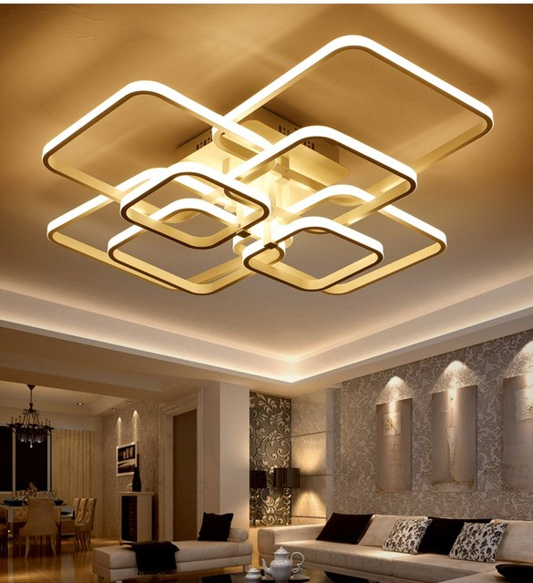 2017 Rectangle Acrylic Aluminum Modern Led Ceiling Lights For Living Room  Bedroom AC90 265V White