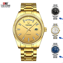 Newest TEVISE Men Automatic Mechanical Watch Rhinestone Scale Date Week Shockproof Waterproof Luminous Hands Mens Wristwatch