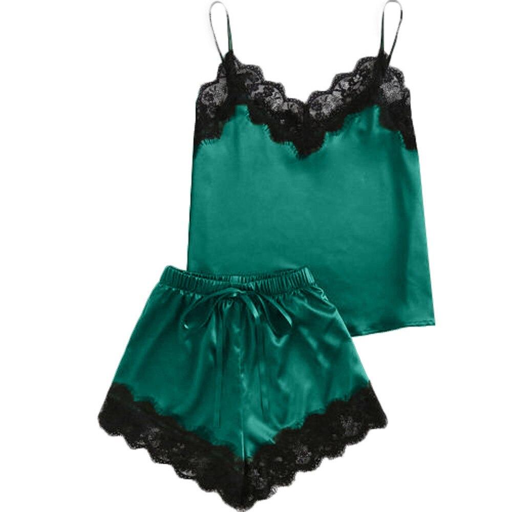 VOT7 Women Sleepwear Sleeveless Strap Nightwear Lace Trim Satin Cami Top Pajama Sets Sexy Lingerie Intimate Ladies V5