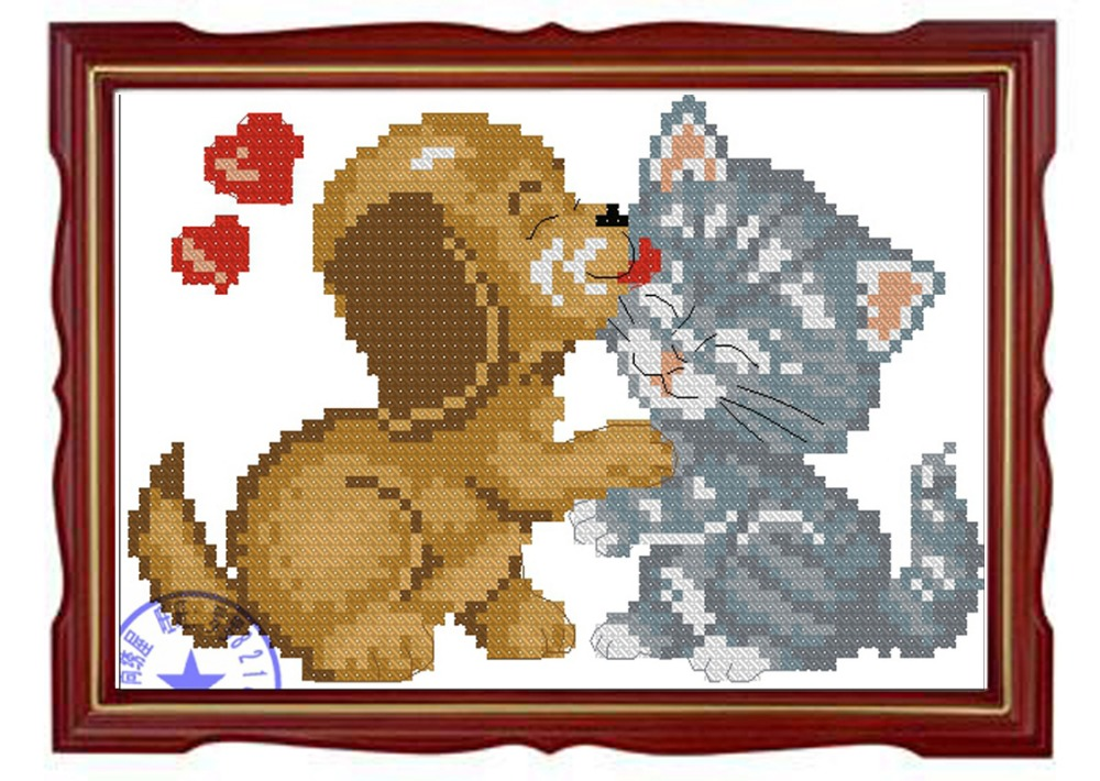 Needlework,DIY Cross Stitch,Sets For Embroidery kits,11CT&14CT,Cats and dogs kiss