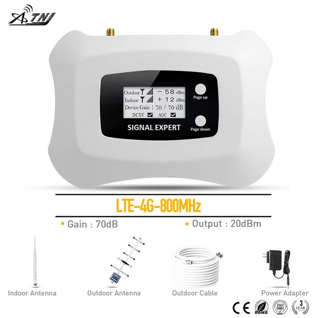 Repetidor de sinal de celular 4g lte, 800mhz, repetidor de sinal de telefone móvel ru kit de amplificador,