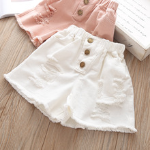 New Kids Denim Shorts For Girls Cotton Hole Ruffles Shorts Baby Child Clothes Jeans Solid Pocket Short Pants 2019 Summer 3 years girls self tie dual pocket denim shorts