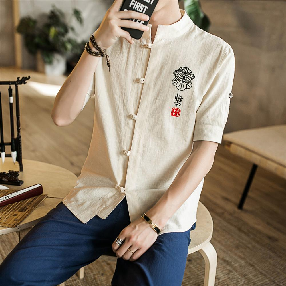 Chinese Embroidery Mens Shirts Short Sleeve Casual Quality Tee Shirt Loose Fit Cotton Linen Tops Man Camisas Masculina Clothing in Casual Shirts from Men 39 s Clothing