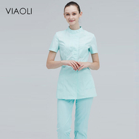 Viaoli Short Sleeve Round Neck Women Medical Coat Uniform Medical Lab Coat Hospital Doctor Slim Multiple