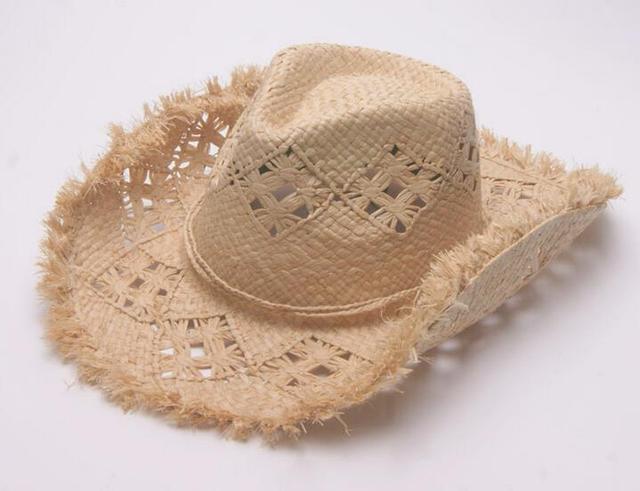 6pcs Brand Handmade Men Woven Cowboys Raffia Straw Hats Nice Women Summer  Sun Straw Cap Beach 316c3085c904