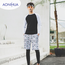 Aonihua Long Sleeve Swimsuit Two Piece Black White Color Swim Wear Carton Shorts Sport  For Teenagers