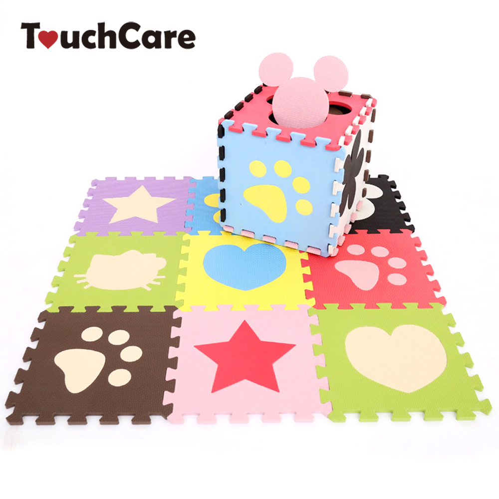 Clearance 30*30*1cm Heart Cartoon Flower Baby Mat Puzzle Educational Baby Play Learning Mat Puzzle Safety Baby Developing Rug