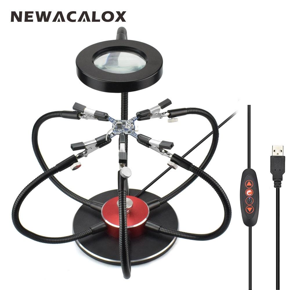 NEWACALOX Fer À Souder Titulaire USB LED Lumières 3X Loupe 6 pcs Bras Flexibles À Souder Station Troisième Main Outil De Soudage