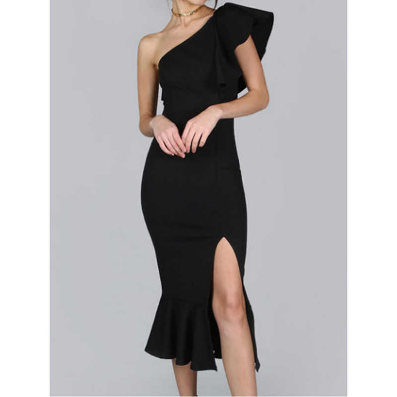 La MaxPa сексуальное платье с разрезом на плече, гофрированное тонкое женское облегающее платье, модное вечернее платье для выпускного вечера, женские платья на день рождения